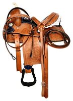 "Premium Leather Western Barrel Racing Pony/Adult Horse Saddle Seat Size 14""-15"""