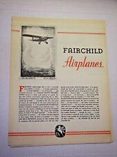 1930s FAIRCHILD 22 & 24 Airplane SALES Brochure Vintage ORIGINAL