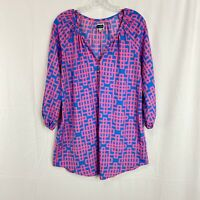 Mud Pie Boutique 3/4 Sleeve Tunic Top Blouse Women's M Geometric Bold Pink Blue
