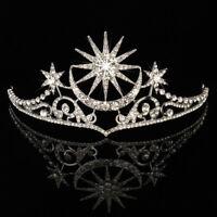 Diadem Strass Tiara Krone Sonne Mond Stern Haarschmuck Silber Braut