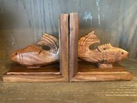 Pair VINTAGE Fish Bookends Hand Carved Wood glass eyes jumping fishing office