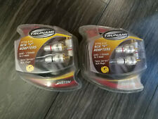 2 Pack of TSUNAMI RCA Y Adapters 6'' (15CM) Gold - 1 Female To 2 Male