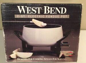 New! WEST BEND 2 qt  WHITE Fondue Pot Electric 88000 4 Forks