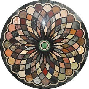 """48"""" white round Marble Table Top Pietra Dura work Handicraft"""