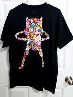 T-Shirt RARE Adventure Time Characters Cartoon Network Men's Large Black Cotton