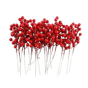 20 Pack 8inch Artificial Christmas Red Berries Stems for Christmas Tree Orn Q5U6