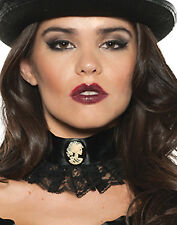 Skeleton Cameo Choker Black Lace Gothic Victorian Adult Necklace