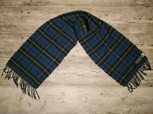 Edinburgh Old Town Weaving Wool Fringe Scarf Green&Blue Tartan Plaid Scotland