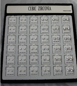 Wholesale 36pcs Cubic Zirconia CZ Earrings Wedding Round Stud Silver Jewelry Lot