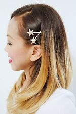 Set of 2 Gold Plated Star Hair Clip Bobby Pin Women Girls Accessories