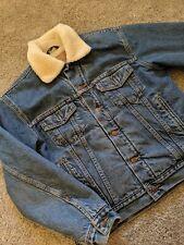 Vintage Levis Fur Sherpa Lined Denim Mens Trucker Jacket Sz M Style 70520-0315