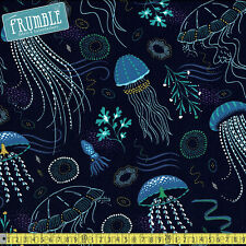 Michael Miller Fabric Into The Deep Lagoon PER METRE Sea Ocean Jelly Fish Squid