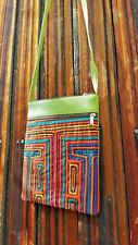 Handmade Cotton Leather Crossbody Travel Thin Bag  2 Zipper Pockets Green Orange