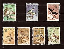 VIETNAM 7 francobolli sur les uccelli : palmipede,spatola,gru 1m 63