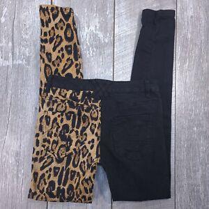 Tripp NYC Split Personality Skinny Jeans Women Size 27x31 Black Leopard Denim