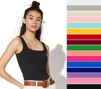 Women's Basic Square Neck Tank Top Cotton Stretch Knit Solid Plain Sleeveless