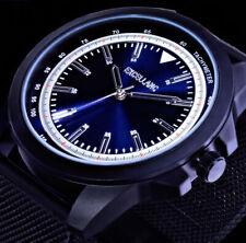 Excellanc Herren Mesh Armband Uhr Blau Schwarz Silber