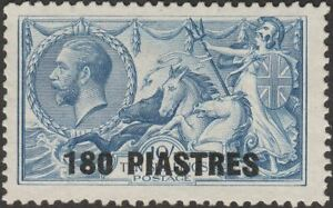 British Levant 1921 KGV Seahorse 180pi on 10sh Gr-Bl Unused SG50 cat £45 as mint