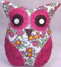"""New Adorable Handmade OWL THROW PILLOW Great In Any Room whimsical 11"""" Pink"""