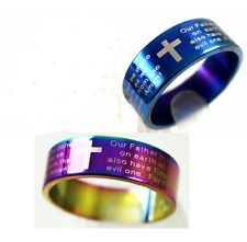 12  Lord's Prayer English wholesale Stainless steel christian rings Jewelry lot