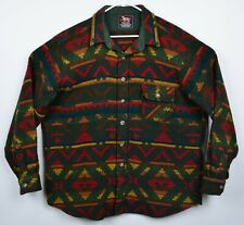Vtg Woolrich Men's Sz XL? Wool Aztec Tribal Forest Green Heavy Shirt Jacket