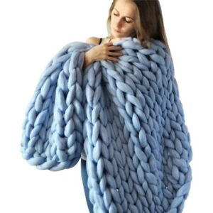 Handmade Chunky Knit Blanket Thick Yarn Wool Bulky Knitted Air conditioning Warm
