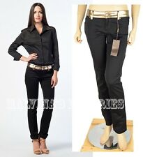 $690 GUCCI BLACK JEANS PANTS WITH GOLD LEATHER WAISTBAND sz IT 42 US 6
