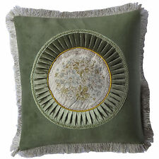 """2x Green Fringe Circle Floral Decorative Throw Pillow Case Cushion Cover 18"""""""