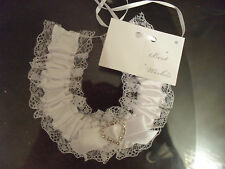Satin Wedding Good Luck Charm Diamante Heart Horseshoe Bridal Keepsake