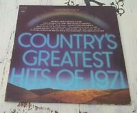 VG Country's Greatest Hits Of 1971 Columbia – C 31172 Vinyl LP Johnny Cash