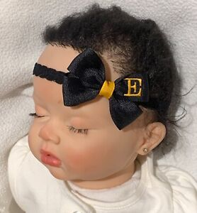 Black w/ Golden Yellow Monogram Dainty Hair Bow with Headband Personalized cute