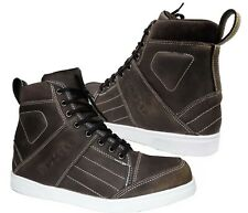 Men's Motorbike Dark Brown Leather Shoes Motorcycle Casual Sneakers Boots Brand