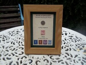 67th Birthday 1954, Lucky Sixpence & Stamps Framed Set, Unique Gift