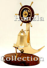 """Solid Brass Wood Wheel Desk Bell 9.5"""" Nautical Ship's Anchor Services Call Bell"""