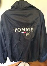 Vtg TOMMY HILFIGER Full Zip Windbreaker black Mens Sailing Jacket Spellout RARE