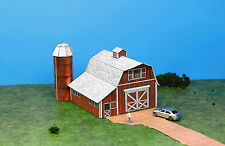 Classic Red Dairy Barn N Scale Building DIY Paper Cutout Kit
