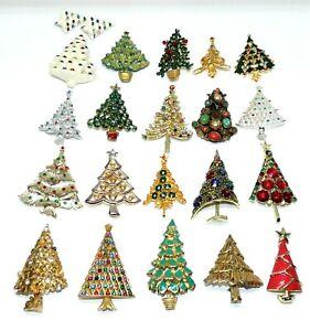 Vintage Christmas Tree Brooches Fur Clip Weiss Dodds Mylu Corel REPAIR Lot R4