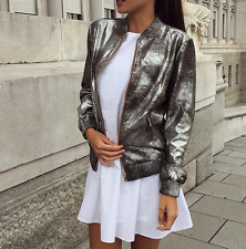 BNWT ZARA DISTRESSED SILVER METALLIC BOMBER JACKET SIZE XSMALL UK 6 8