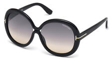 TOM FORD GISELLA LARGE OVAL SUNGLASSES BLACK SMOKE GREY GRADIENT FT 0388 01B
