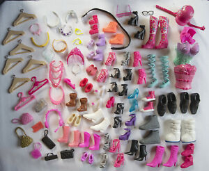 """Mattel Barbie 11.5"""" DOLL SHOES LOT Boots Jewelry Crowns Purses Accessories Kelly"""