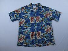Mens Howie Fish Boat Floral Postcard Shirt Size XL Hawaiian Island Tribal Tiki