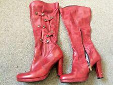 Virus Moda Red Calf Length Boots Size 4