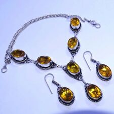 "Citrine Topaz 925 Silver Overlay Necklace & Earrings Set Jewelry 20"" Inch S"