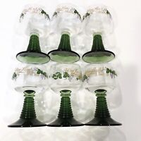 Set Of Six Zwiesel Green Beehive Stems Wine / Cordial Glasses Goblets Germany