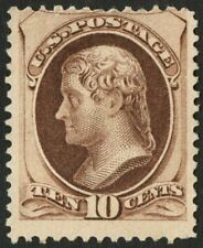"US Sc# 188 *UNUSED NG H* { 10c JEFFERSON } ""SCARCE ON SOFT POROUS PAPER CV$ 700"