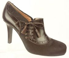 Nanette Lepore Brown Leather Cow Hair Brogue Bootie Heels Women's 10 M