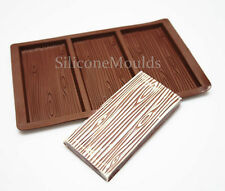 3 cell Wood Effect  Bark Chocolate Bar Mould Professional Chocolatier Silicone