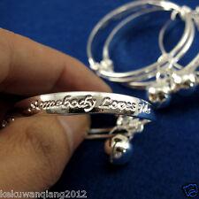 2pcs Chic 925 Silver Infant/Baby Adjustable Bracelet Anklet Bangle Bell Jewerly