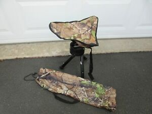 Swivel Camo Hunting Blind Chair Tri Foldable 360 Rotating Steel Frame & Pouch