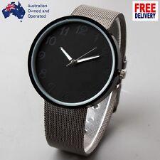 Men Women Simple Black Wristwatch Watch Metal Net Web Band Men Casual Quartz